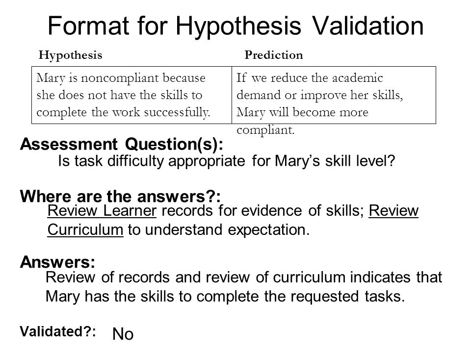 Format for Hypothesis Validation Validated : Mary is noncompliant because she does not have the skills to complete the work successfully.