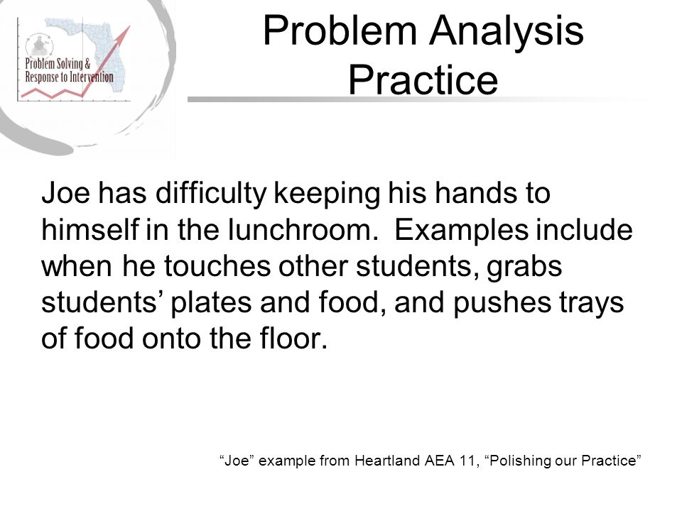 Problem Analysis Practice Joe has difficulty keeping his hands to himself in the lunchroom.