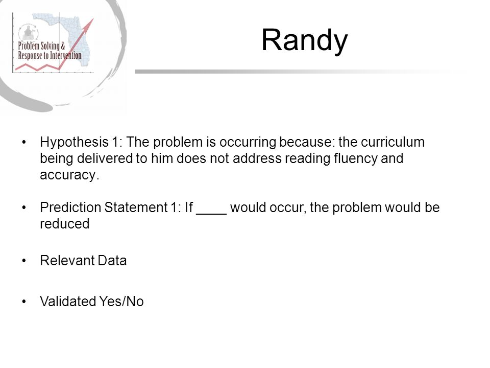 Randy Hypothesis 1: The problem is occurring because: the curriculum being delivered to him does not address reading fluency and accuracy.
