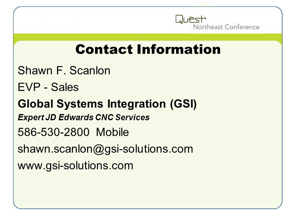 Contact Information Shawn F.