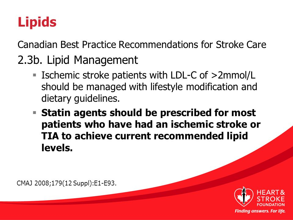 Lipids Canadian Best Practice Recommendations for Stroke Care 2.3b.