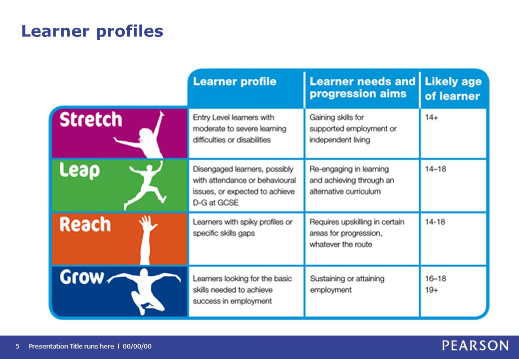 Learner profiles Presentation Title runs here l 00/00/005