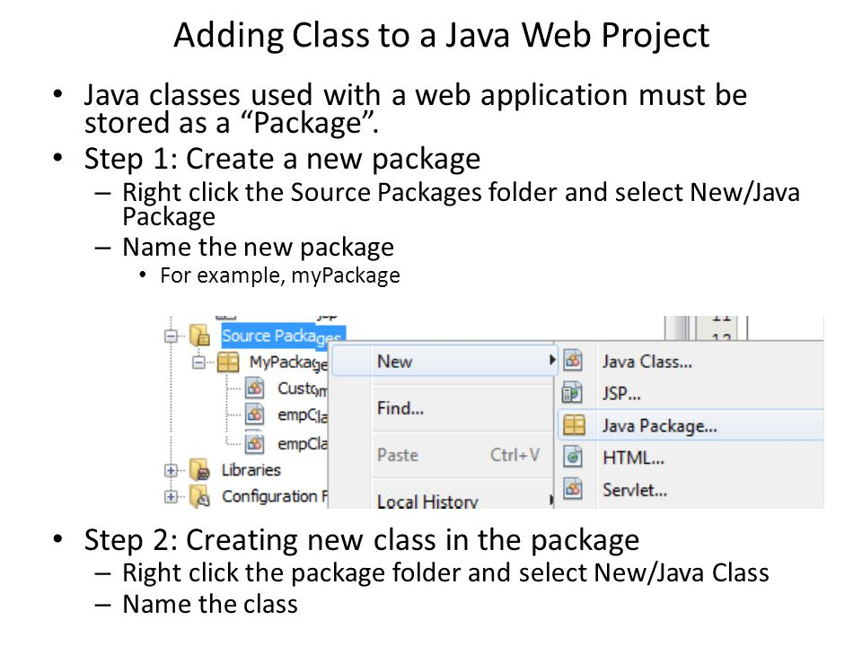 Java classes isys 350 introduction to classes a class is the adding class to a java web project java classes used with a web application must be malvernweather Gallery