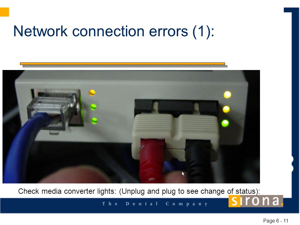 Network connection errors (1): Check media converter lights: (Unplug and plug to see change of status): Page