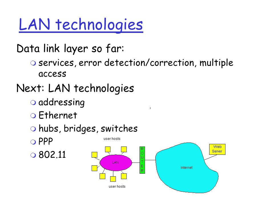 LAN technologies Data link layer so far: m services, error detection/correction, multiple access Next: LAN technologies m addressing m Ethernet m hubs, bridges, switches m PPP m