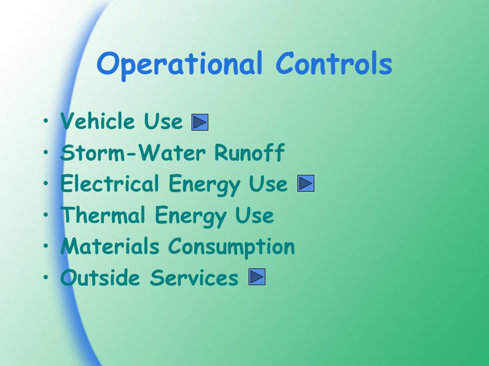 Operational Controls Vehicle Use Storm-Water Runoff Electrical Energy Use Thermal Energy Use Materials Consumption Outside Services