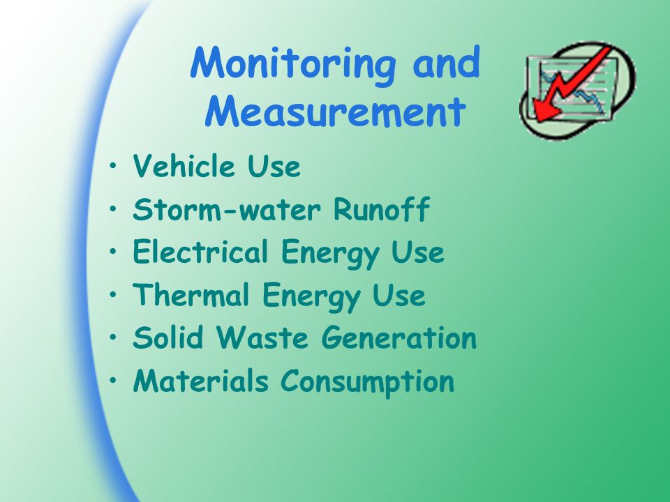 Monitoring and Measurement Vehicle Use Storm-water Runoff Electrical Energy Use Thermal Energy Use Solid Waste Generation Materials Consumption