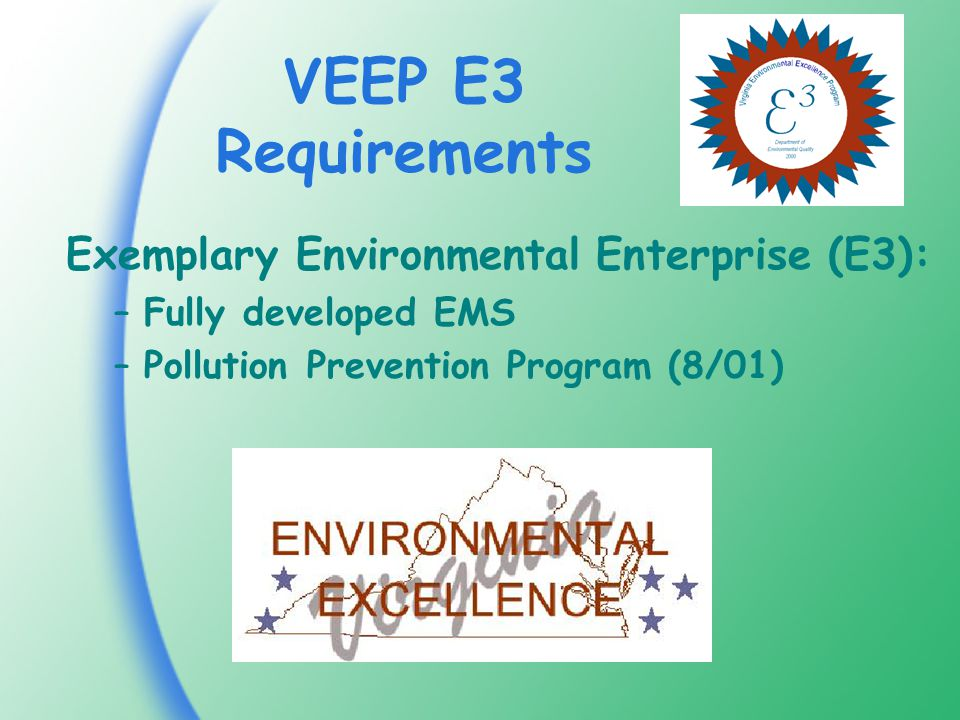 VEEP E3 Requirements Exemplary Environmental Enterprise (E3): –Fully developed EMS –Pollution Prevention Program (8/01)