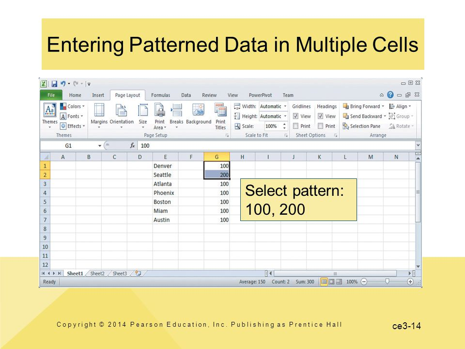 ce3-14 Entering Patterned Data in Multiple Cells Copyright © 2014 Pearson Education, Inc.