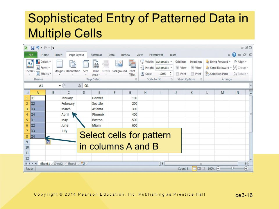 ce3-16 Sophisticated Entry of Patterned Data in Multiple Cells Copyright © 2014 Pearson Education, Inc.