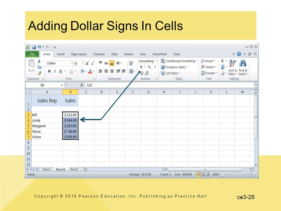ce3-26 Adding Dollar Signs In Cells Copyright © 2014 Pearson Education, Inc.