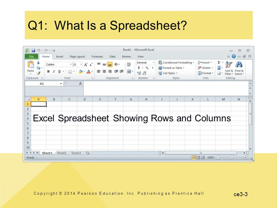 ce3-3 Q1: What Is a Spreadsheet. Copyright © 2014 Pearson Education, Inc.