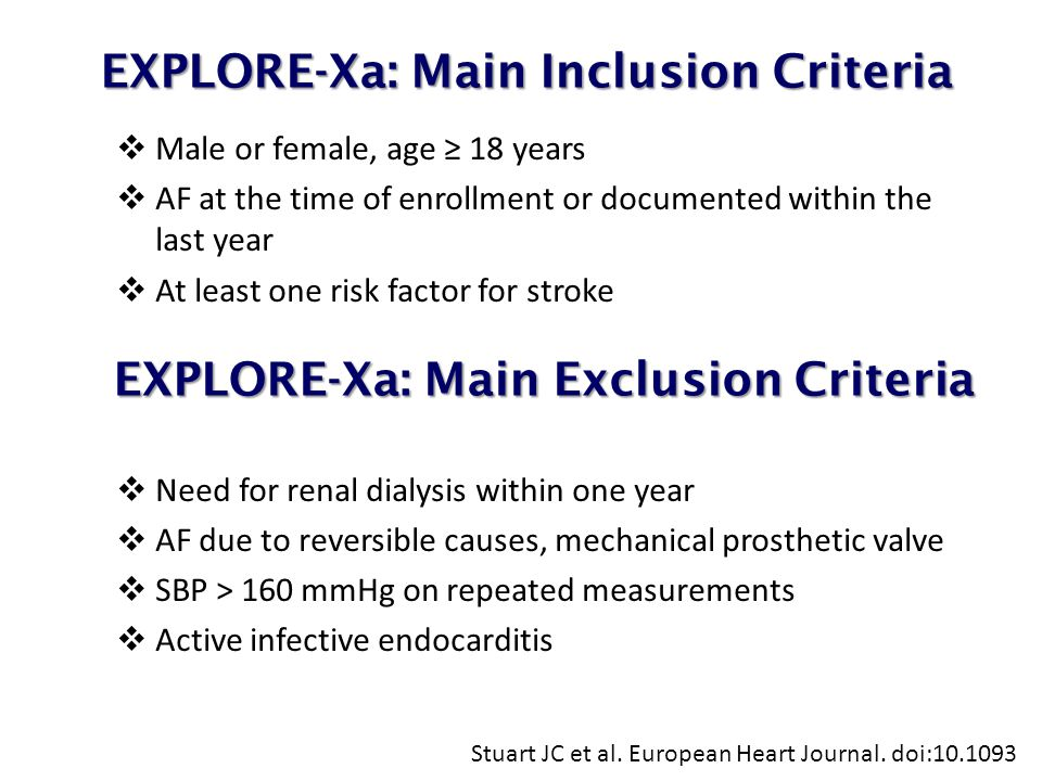 EXPLORE-Xa: Main Inclusion Criteria EXPLORE-Xa: Main Inclusion Criteria  Male or female, age ≥ 18 years  AF at the time of enrollment or documented within the last year  At least one risk factor for stroke  Need for renal dialysis within one year  AF due to reversible causes, mechanical prosthetic valve  SBP > 160 mmHg on repeated measurements  Active infective endocarditis Stuart JC et al.
