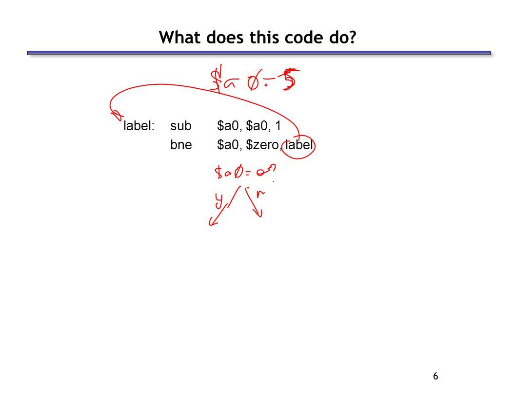 6 What does this code do label:sub$a0, $a0, 1 bne$a0, $zero, label