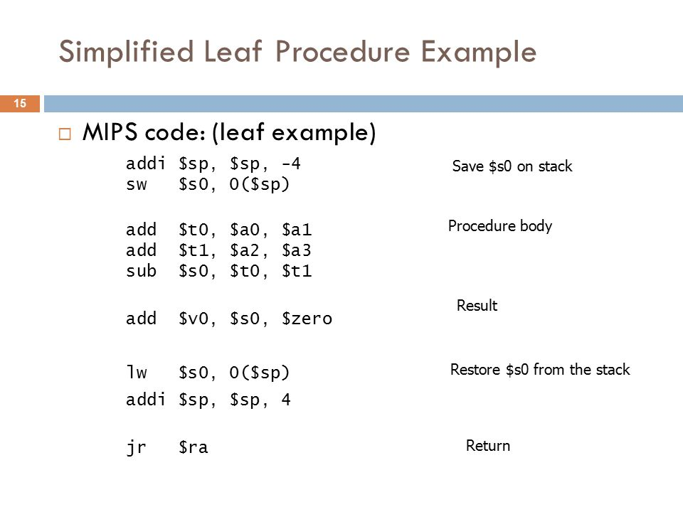 Simplified Leaf Procedure Example  MIPS code: (leaf example) addi $sp, $sp, -4 sw $s0, 0($sp) add $t0, $a0, $a1 add $t1, $a2, $a3 sub $s0, $t0, $t1 add $v0, $s0, $zero lw $s0, 0($sp) addi $sp, $sp, 4 jr $ra Save $s0 on stack Procedure body Restore $s0 from the stack Result Return 15