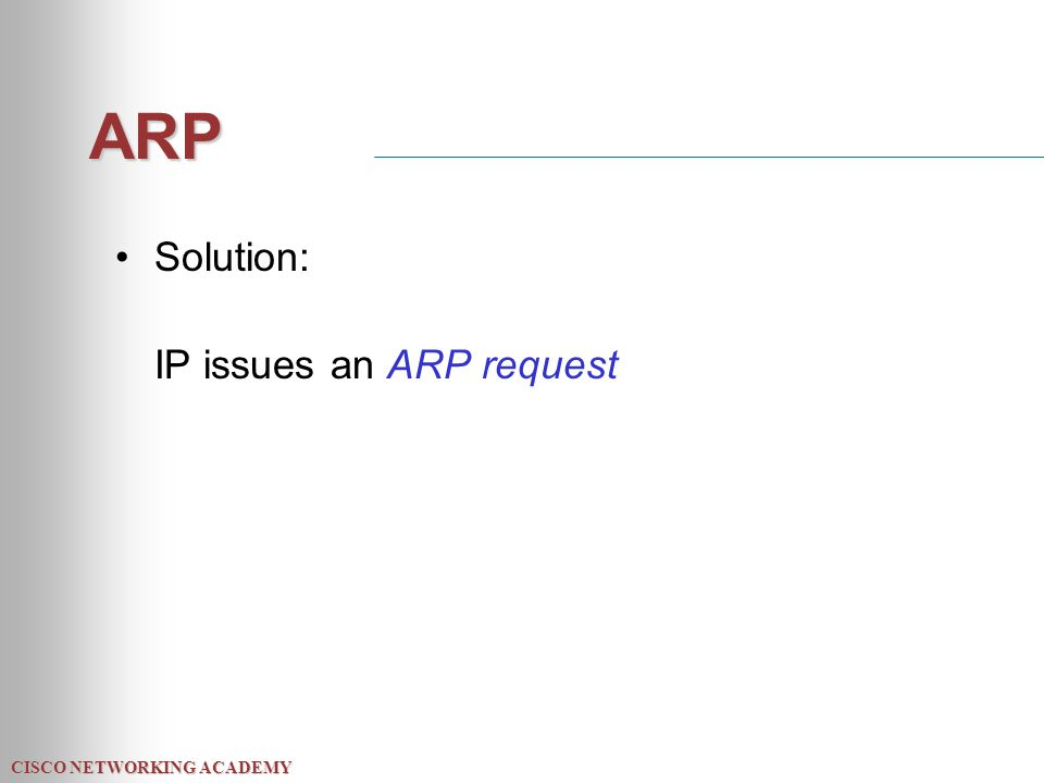 CISCO NETWORKING ACADEMY ARP Solution: IP issues an ARP request