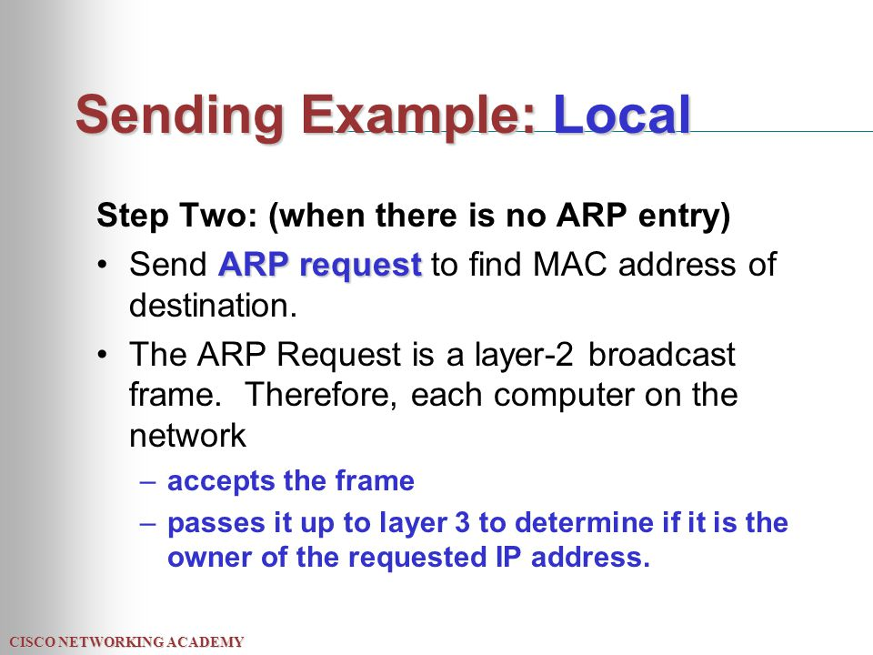 CISCO NETWORKING ACADEMY Sending Example: Local Step Two: (when there is no ARP entry) ARP requestSend ARP request to find MAC address of destination.