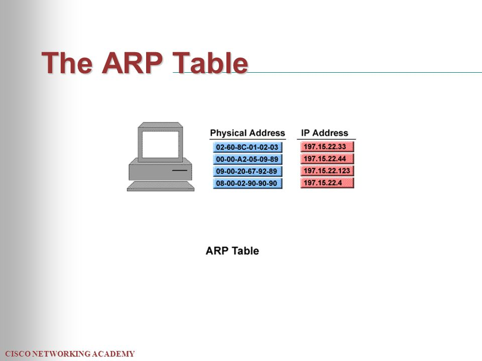 CISCO NETWORKING ACADEMY The ARP Table