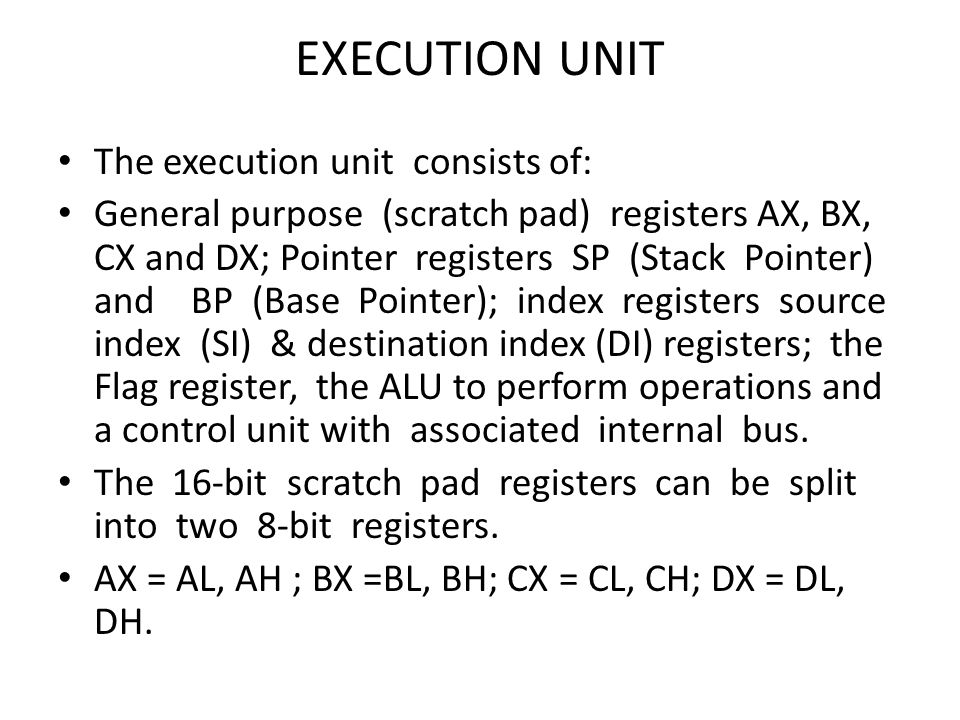 BUS INTERFACE UNIT: The BIU consists of segment registers, an address to generate 20 bit address and instruction prefetch queue.