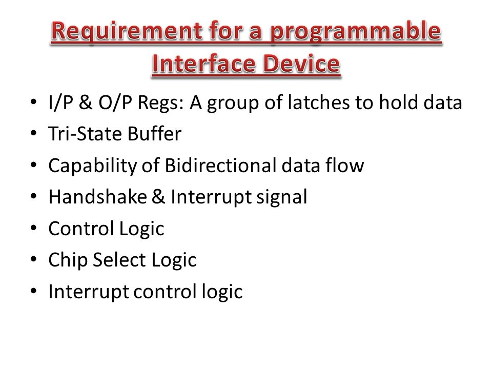 I/P & O/P Regs: A group of latches to hold data Tri-State Buffer Capability of Bidirectional data flow Handshake & Interrupt signal Control Logic Chip Select Logic Interrupt control logic
