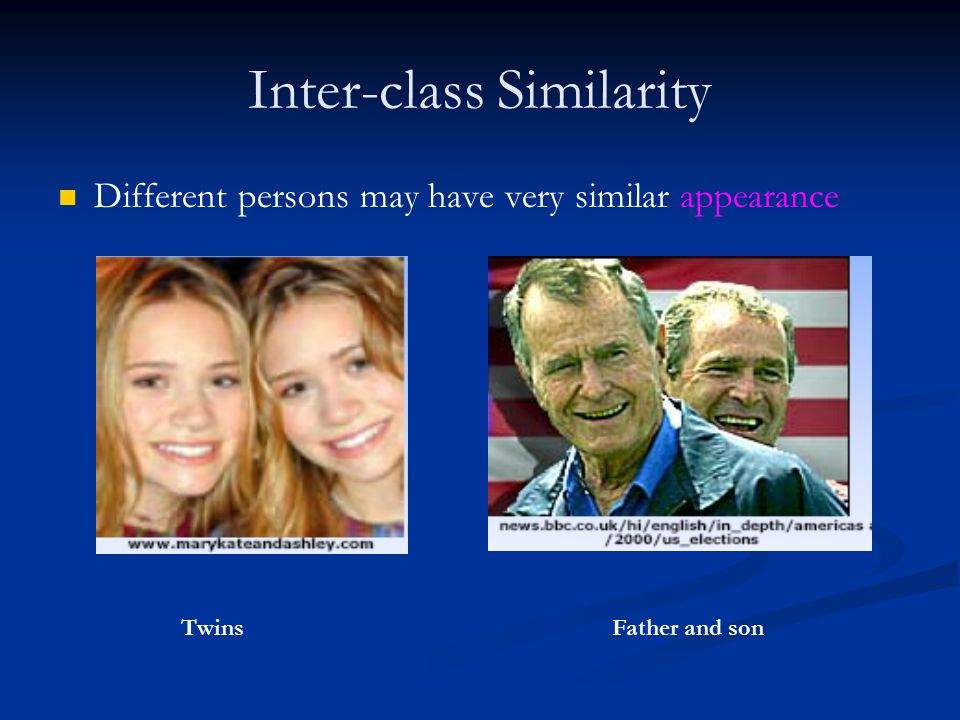 Inter-class Similarity Different persons may have very similar appearance TwinsFather and son