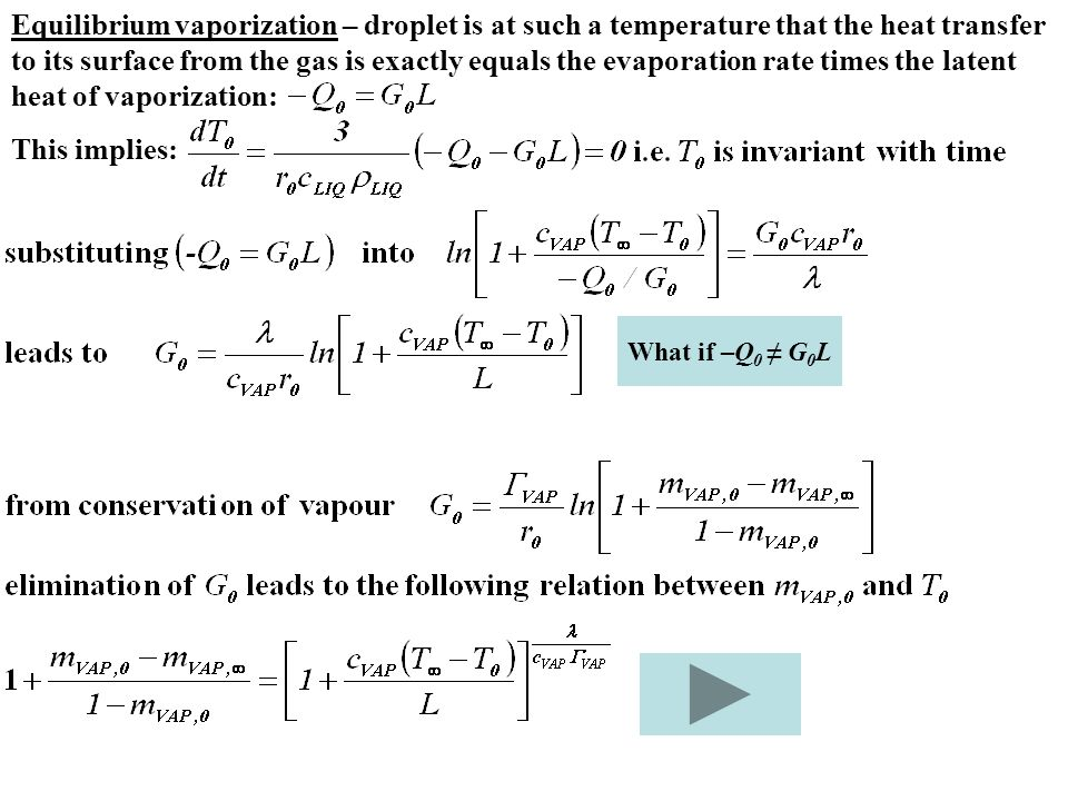 Equilibrium vaporization – droplet is at such a temperature that the heat transfer to its surface from the gas is exactly equals the evaporation rate times the latent heat of vaporization: This implies: What if –Q 0 ≠ G 0 L