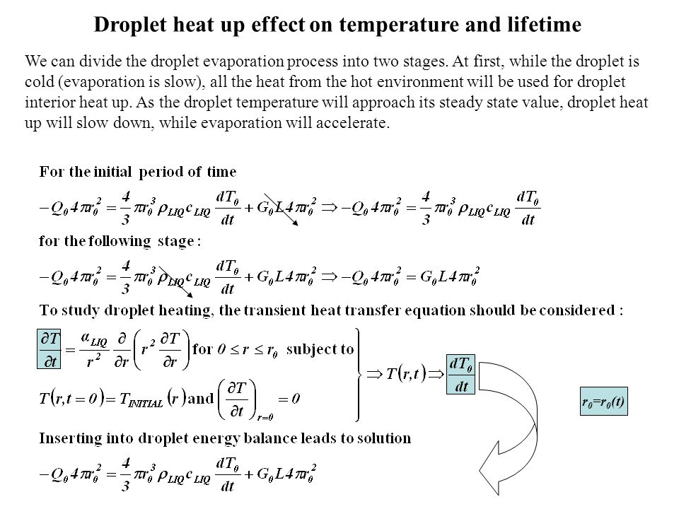 Droplet heat up effect on temperature and lifetime We can divide the droplet evaporation process into two stages.