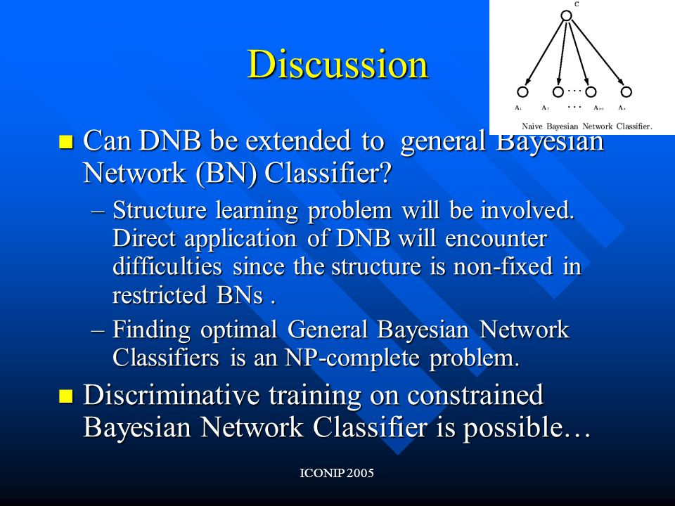 ICONIP 2005 Discussion Can DNB be extended to general Bayesian Network (BN) Classifier.