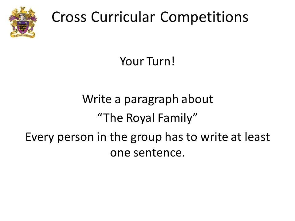 Cross Curricular Competitions Your Turn.
