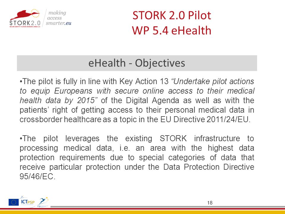 18 STORK 2.0 Pilot WP 5.4 eHealth eHealth - Objectives The pilot is fully in line with Key Action 13 Undertake pilot actions to equip Europeans with secure online access to their medical health data by 2015 of the Digital Agenda as well as with the patients' right of getting access to their personal medical data in crossborder healthcare as a topic in the EU Directive 2011/24/EU.