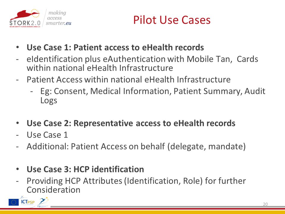 Pilot Use Cases 20 Use Case 1: Patient access to eHealth records -eIdentification plus eAuthentication with Mobile Tan, Cards within national eHealth Infrastructure -Patient Access within national eHealth Infrastructure -Eg: Consent, Medical Information, Patient Summary, Audit Logs Use Case 2: Representative access to eHealth records -Use Case 1 -Additional: Patient Access on behalf (delegate, mandate) Use Case 3: HCP identification -Providing HCP Attributes (Identification, Role) for further Consideration
