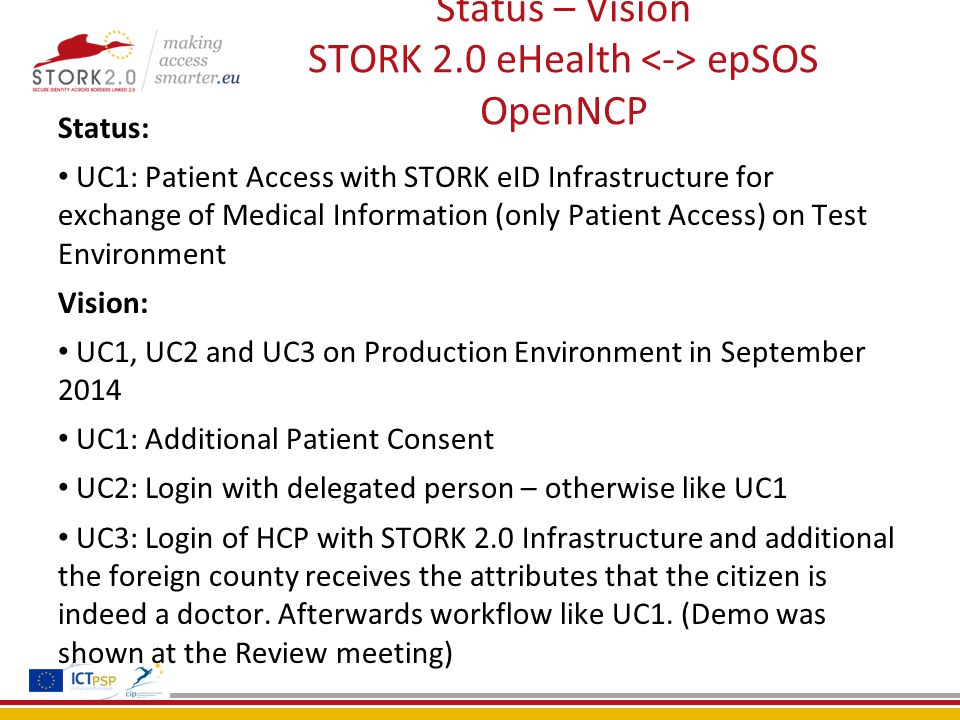 Status – Vision STORK 2.0 eHealth epSOS OpenNCP Status: UC1: Patient Access with STORK eID Infrastructure for exchange of Medical Information (only Patient Access) on Test Environment Vision: UC1, UC2 and UC3 on Production Environment in September 2014 UC1: Additional Patient Consent UC2: Login with delegated person – otherwise like UC1 UC3: Login of HCP with STORK 2.0 Infrastructure and additional the foreign county receives the attributes that the citizen is indeed a doctor.
