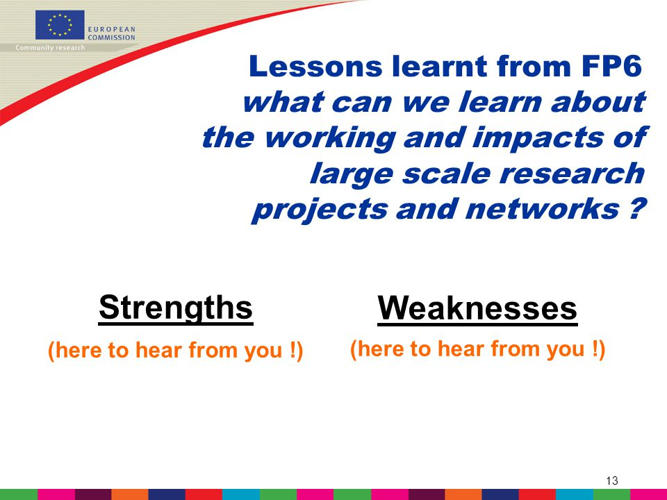 13 Lessons learnt from FP6 what can we learn about the working and impacts of large scale research projects and networks .
