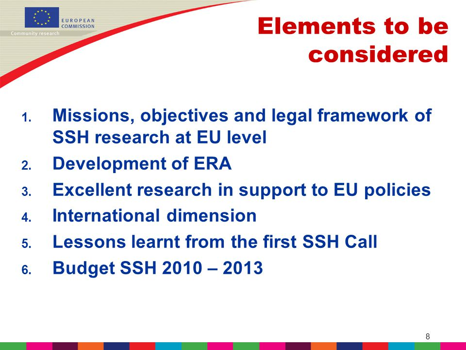 8 1. Missions, objectives and legal framework of SSH research at EU level 2.
