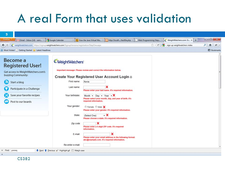 A real Form that uses validation CS382 3