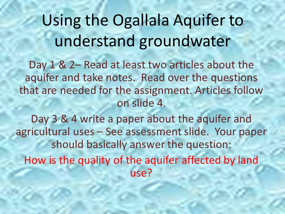 Using The Ogallala Aquifer To Understand Groundwater Day 1 2 Read. Using The Ogallala Aquifer To Understand Groundwater Day 1 2 Read At Least Two. Worksheet. Worksheet 2 Groundwater Vocabulary Quiz At Mspartners.co