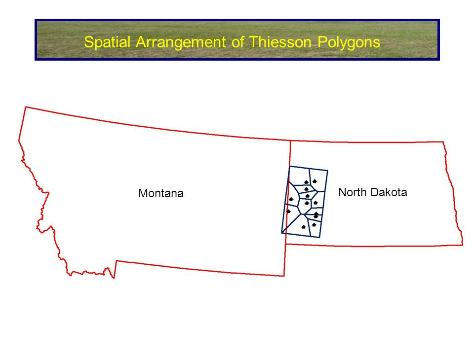Spatial Arrangement of Thiesson Polygons Montana North Dakota