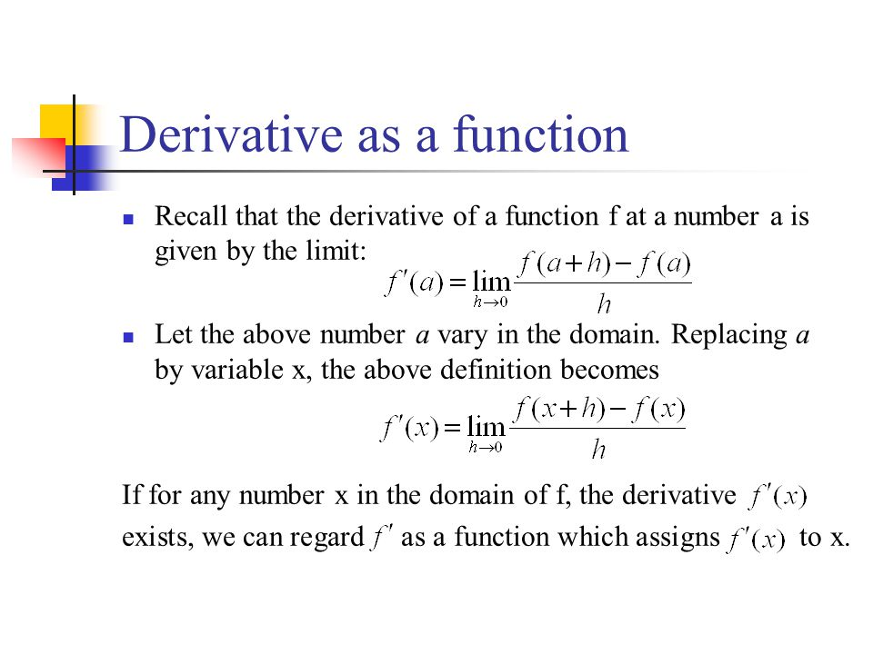 Derivative as a function Recall that the derivative of a function f at a number a is given by the limit: Let the above number a vary in the domain.
