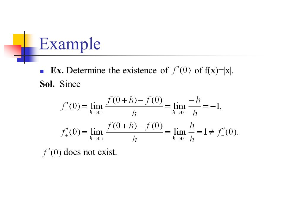Example Ex. Determine the existence of of f(x)=|x|. Sol. Since does not exist.