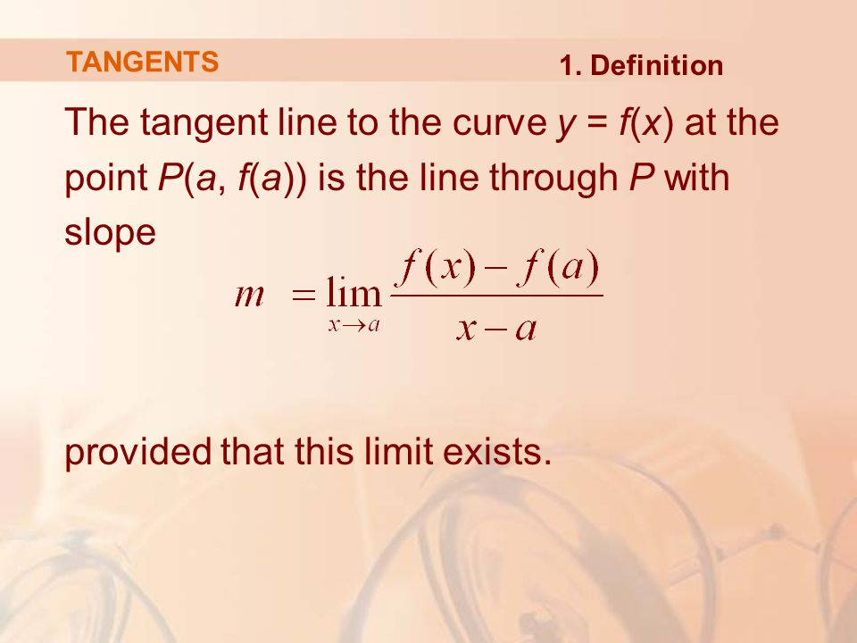 The tangent line to the curve y = f(x) at the point P(a, f(a)) is the line through P with slope provided that this limit exists.