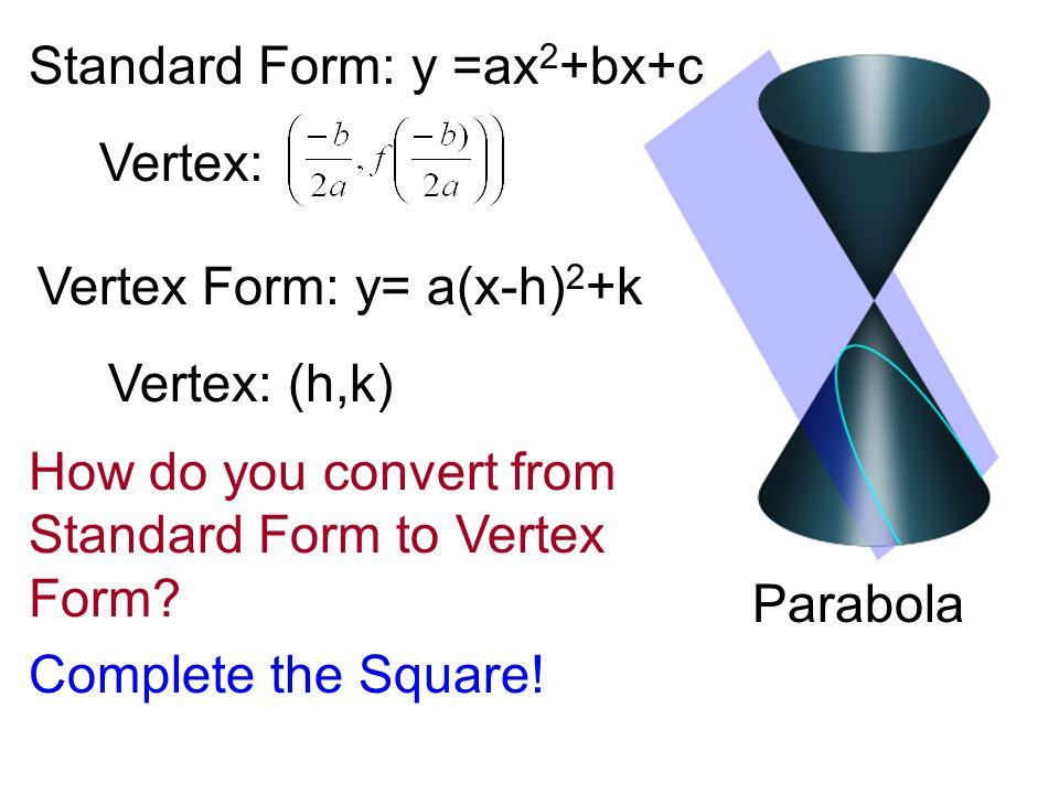 C O N I C S E C T I O N S Part 1 The Parabola Parabola Standard