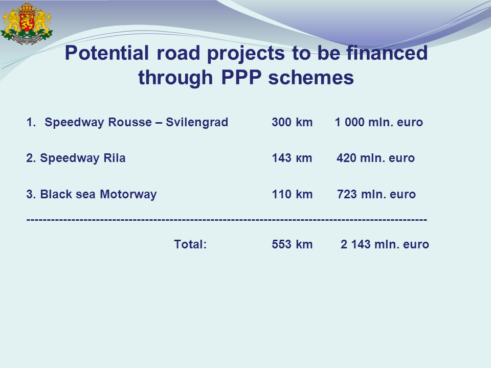 Potential road projects to be financed through PPP schemes 1.Speedway Rousse – Svilengrad300 km mln.