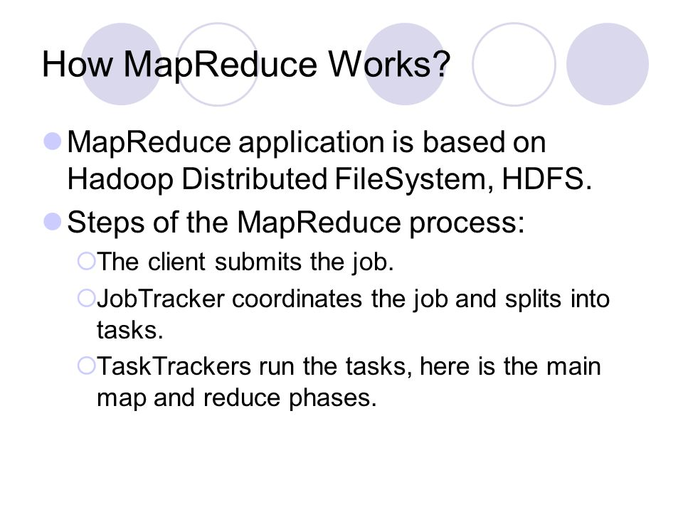 How MapReduce Works. MapReduce application is based on Hadoop Distributed FileSystem, HDFS.