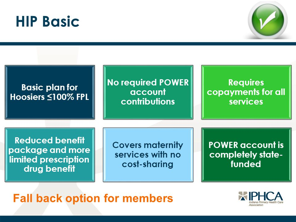HIP Basic Basic plan for Hoosiers ≤100% FPL No required POWER account contributions Requires copayments for all services Reduced benefit package and more limited prescription drug benefit Covers maternity services with no cost-sharing POWER account is completely state- funded Fall back option for members