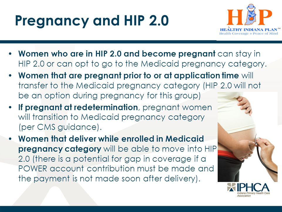 Pregnancy and HIP 2.0 Women who are in HIP 2.0 and become pregnant can stay in HIP 2.0 or can opt to go to the Medicaid pregnancy category.