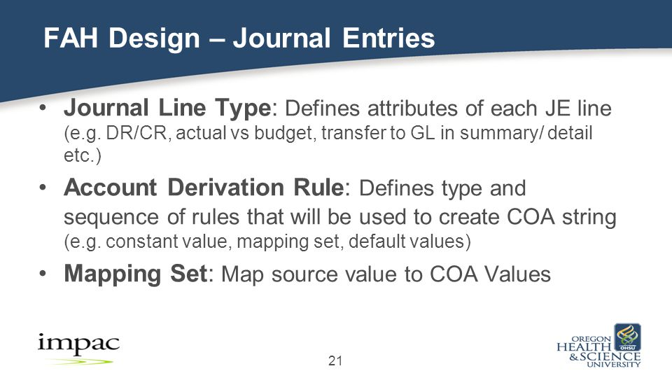 Journal Line Type: Defines attributes of each JE line (e.g.