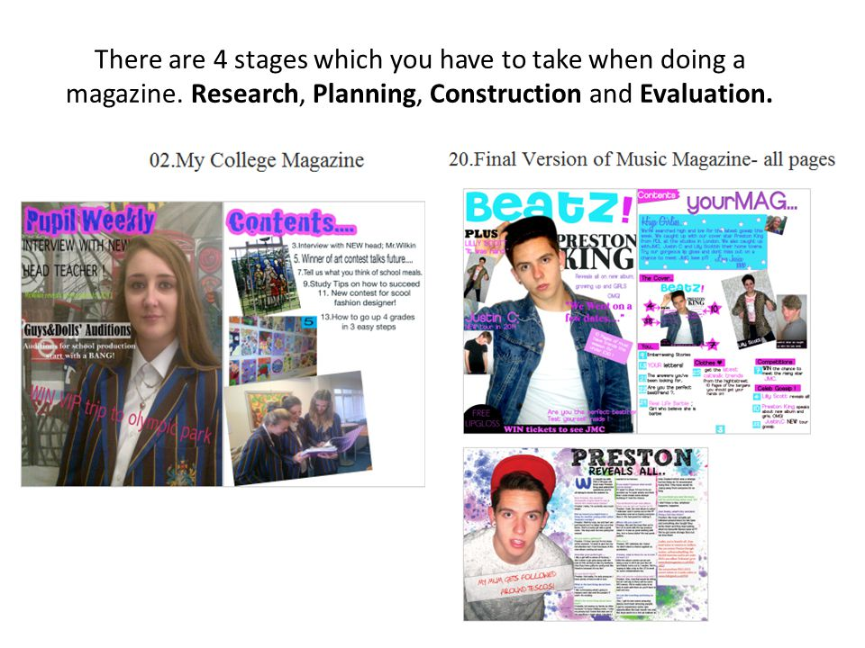 There are 4 stages which you have to take when doing a magazine.