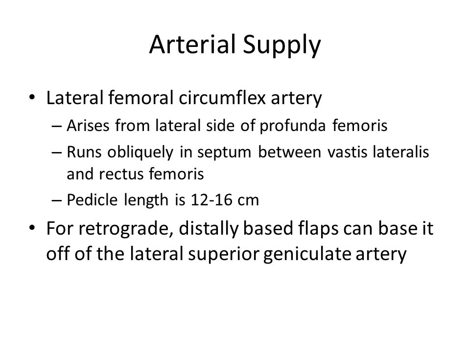 Arterial Supply Lateral femoral circumflex artery – Arises from lateral side of profunda femoris – Runs obliquely in septum between vastis lateralis and rectus femoris – Pedicle length is cm For retrograde, distally based flaps can base it off of the lateral superior geniculate artery