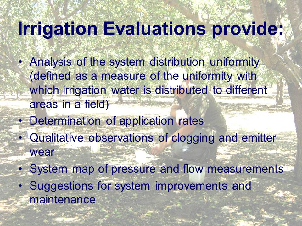 Irrigation Evaluations provide: Analysis of the system distribution uniformity (defined as a measure of the uniformity with which irrigation water is distributed to different areas in a field) Determination of application rates Qualitative observations of clogging and emitter wear System map of pressure and flow measurements Suggestions for system improvements and maintenance
