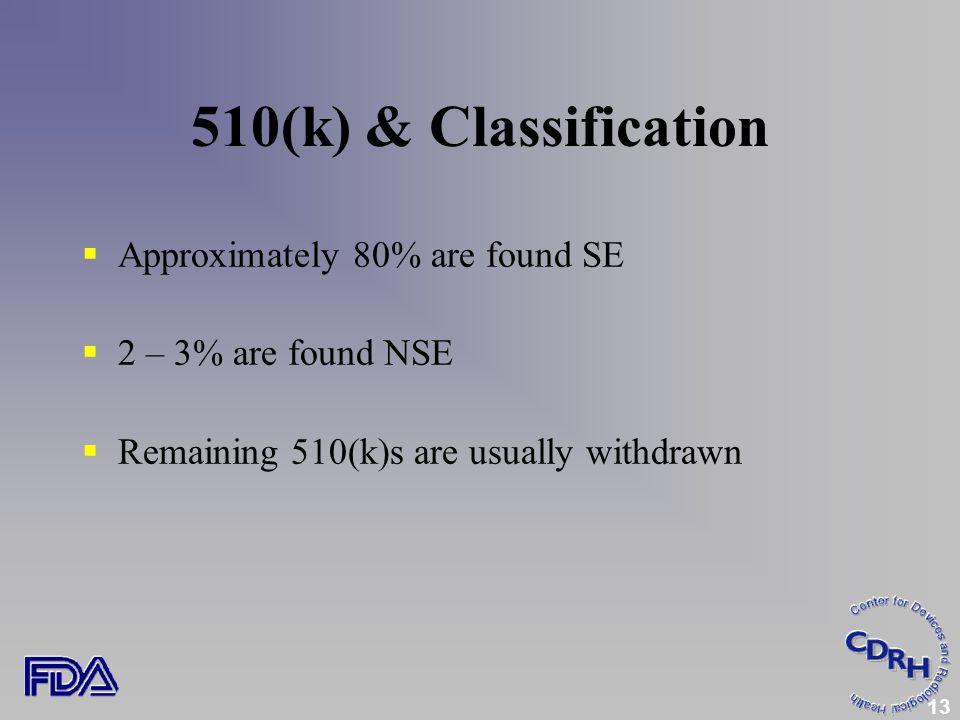 13  Approximately 80% are found SE  2 – 3% are found NSE  Remaining 510(k)s are usually withdrawn 510(k) & Classification